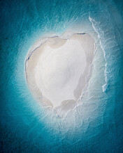 Aerial View Of A Sand Bank, Which Looks Like A Heart, Kaafu Atoll, Maldives.