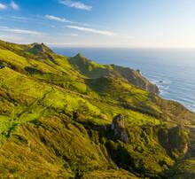 Aerial View Of Mountain Ridge Along The Coastline Near Cascata Da Ribeira Do Fundao, Ilha Das Flores, Azores Islands, Portugal.