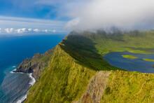 Aerial View Of Caldeirao, A Lake Along The Coastline On Corvo Island, Azores Islands, Portugal.
