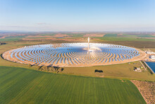 Aerial View Of A Gemasolar Thermosolar Plant With A Molten Salt Heat Storage System Located Within The City Limits Of Fuentes De Andalucía In The Province Of Seville, Spain.