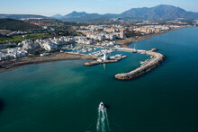 Aerial View Of Puerto Marina, The City Harbour With Boats In Malaga Downtown Along The Coast, Andalusia, Spain.