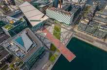 Aerial View Of Grand Canal And Grand Canal Square, Dublin, Ireland.