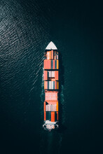 Aerial View Of Container Cargo Ship Sailing The Dublin Bay In The North Sea, Dublin, Ireland.