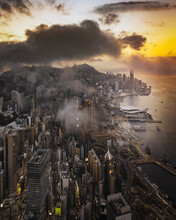 Wan Chai District, Hong Kong - 14 February, 2019: Aerial View Of Causeway Bay On Hong Kong Island, Hong Kong.