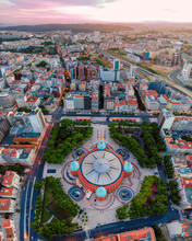 Panoramic Aerial View Of Campo Pequeno City Mall At Sunset With City Gardens Around, Lisbon, Portugal.
