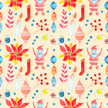 Seamless Raster Watercolor Pattern Of Christmas And New Year Symbols. Elements And Items Of The Holiday On The Brown Background.