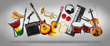 Wide Panorama Collage  Of Various Musical Instruments. Guitar Keyboard Brass Percussion Studio Music Concept Grey Background