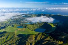 Aerial View Of A Few Lakes Near Lagoa Das Empanadas And Miradouro Do Pico Do Carvao, On San Miguel Island, Azores Islands, Portugal.