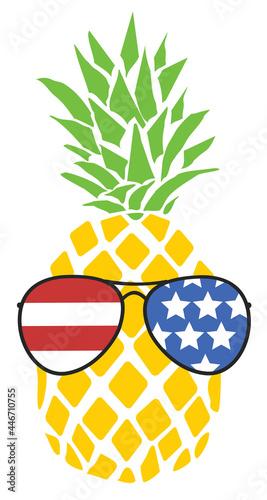 Funny pineapple wearing American flag glasses #446710755