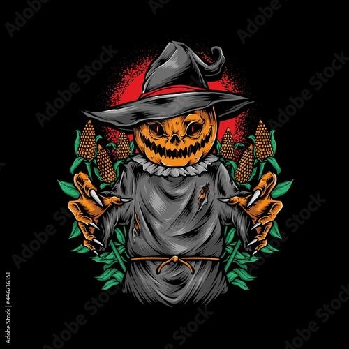 Fototapeta scary pumpkin scarecrow vector illustration