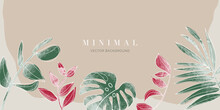 Minimal Tropical Leaves Watercolor Background Vector. Botanical And Jungle Leaves Line Art Summer Exotic Concept With Copy Space Design For Wallpaper Poster, Cover, Invitation Card Background.