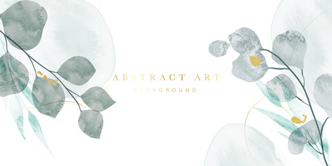 Fototapeta na wymiar Golden Wild Flowers line art background vector. Luxury abstract art background with artificial flowers, Gold leaves, eucalyptus, trending hydrangea and summer blooms. Botanical wedding wallpaper.