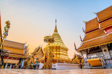 Wat Phra That Doi Suthep With Golden Morning Sky, The Most Famous Temple In Chiang Mai, Thailand (Low Angle View)