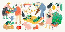 Eat Local Vector Illustration Set. Organic Farming With People Farmers Doing Farming Job, Planting, Organic Food, Local Organic Production, Fruits And Vegetables, Animal Farm, Modern Farmers Market.