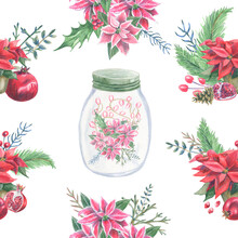 Seamless Pattern With Glass Jar With Pink Flowers Of Poinsettia And Lights Inside And Arrangements Of Red Poinsettia, Pomegranate For Christmas Decoration. Hand Drawn Sketch By Colored Pencils.