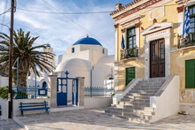 Serifos Island, Chora, Cyclades Greece. Town Hall And Church Background Empty Street.