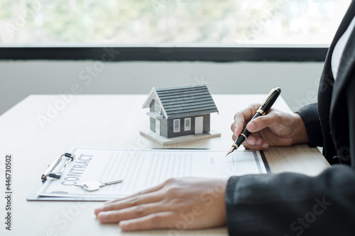 Canvas Print agents working in real estate investment and home insurance signing contracts in