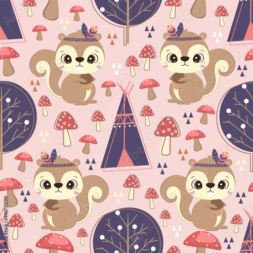 Fototapeta premium Cute cartoon tribal squirrel pattern design perfect for children's fabric, gift wrapping, wallpaper, and many more