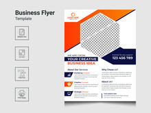 Modern Corporate Business Flyer Design Template For Business,  Flyer Template Geometric Shape Used For IT Company Flyer, Corporate Banners, And Leaflets Business Poster Layout.