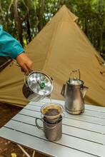 アウトドアで焙煎コーヒ Coffee Roasted In Outdoor Camping