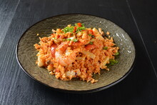 Thai Style Spicy Chilli Tom Yum Dry Fried Egg Rice With Seafood Prawn And Meat In Black Background Asian Halal Menu
