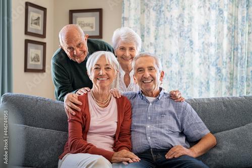 Obraz na plátně Group of senior friends at home