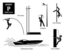 Sport Games Alphabet P Vector Icons Pictogram. Pole Vault, Popinjay, Pole Dancing, Power Boat Racing, And Pole Climbing.