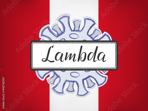Tablou Canvas Lambda is handwritten lettering on the sign on the background of the coronavirus