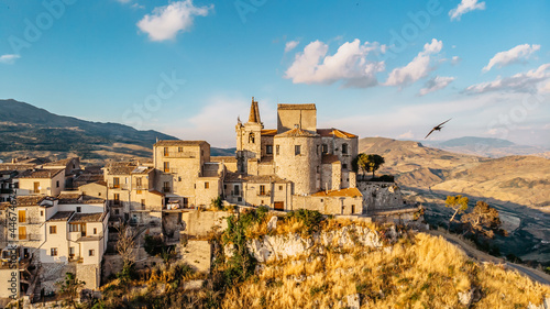 Canvastavla Aerial view of medieval stone village,the highest village in Madonie mountain range,Sicily,Italy