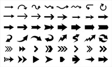 Arrows Vector Icons Isolated On White Background. Big Vector Set Of Black Arrow Signs And Direction Pointers.