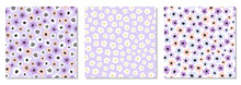 Cute Set Of Seamless Pattern With Primitive Naive Art Flowers In 70s Style