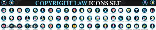 Fotografie, Obraz Copyright Law Icons. property intellectual copyright icons set