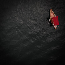 Little Red Boat In The Grand Harbour Of Valletta, Malta