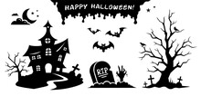 Halloween Stickers Collection. Black Cartoon Silhouettes And Symbols Of Scary Spooky Decorations. Vector Set. Dark Castle, Evil Tree, Graves, Crosses And Bats Isolated On White Background.