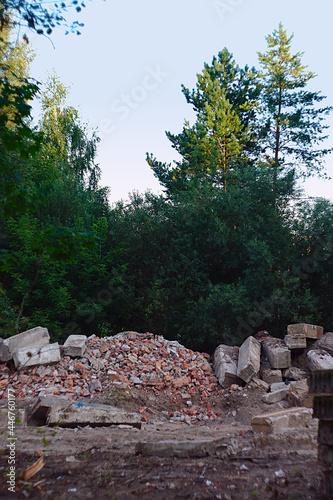 Obraz na plátně A pile of construction debris from a demolished building
