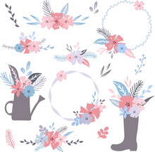Set Of Hand Drawn Elements With Leaves, Flowers, Bouquets, Wreaths For Postcards, Invitations, Greeting Cards, Logo, Quotes, DIY Projects, Etc.