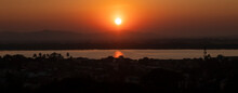 Panoramic View Of Sunset Over The River Thanlwin At Mawlamyine