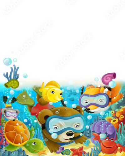 Fototapeta premium cartoon forest animal diving on coral reef illustration