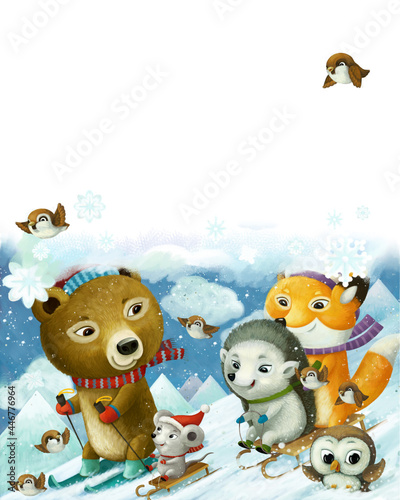 Fototapeta premium cartoon forest animals skiing winter sports illustration