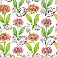 Seamless Repeat Background Flower Blossom Bouquet And Seed Outline