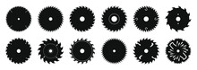 Vector Set Of Icons Of Metal Disks For A Circular Saw. A Cutting Tool In The Form Of A Flat Metal Disk, On The Outer Edge Of Which There Are Teeth.