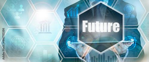 Fotografie, Obraz A Future business word concept on a futuristic blue display.