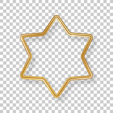 Star Luxury 3d Gold Frame Isolated On Transparent Background. Vector Illustration. Party Design Label, Merry Christmas Badge, Bronze Metallic Abstract Logo Element, Outline Sign Border