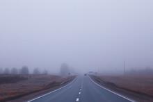 Road In Fog Concept, Mist In October Halloween Landscape, Highway