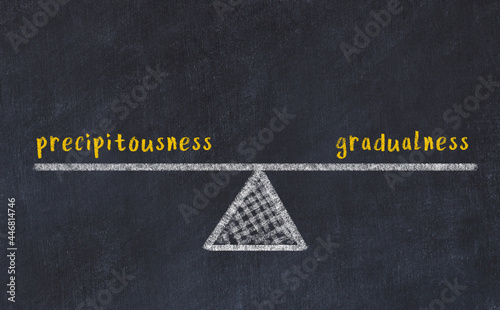 Photo Chalk drawing of scales with words precipitousness and gradualness