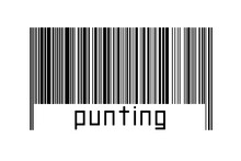 Digitalization Concept. Barcode Of Black Horizontal Lines With Inscription Punting