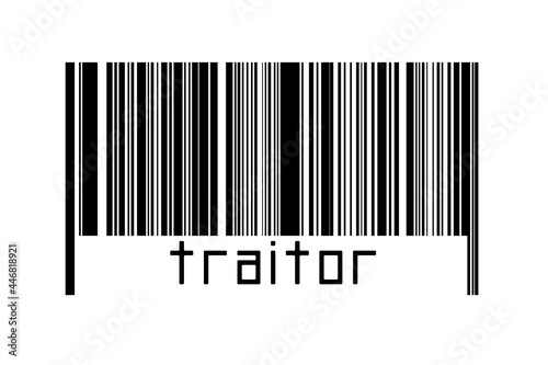 Barcode on white background with inscription traitor below Fototapeta