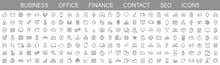 Thin Line Icons Big Set. Icons Business Office Finance Marketing Shopping SEO Contact. Vector Illustration