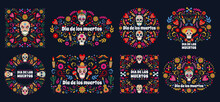 Dia De Los Muertos Banners. Day Of The Dead Mexican Sugar Human Head Bones And Flowers Vector Background Set. Mexican Dead Day Holiday Cards