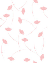 Vintage Style Floral Seamless Vector Pattern. Light Pink Delicate Flowers Isolated On A White Background. Pink Abstract Garden Print Ideal For Fabric, Textile, Wrapping Paper.